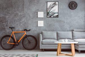 Orange bike in living room